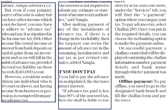 Deadline for filing first instalment of advance tax - Suraj Nangia Advisors LLP