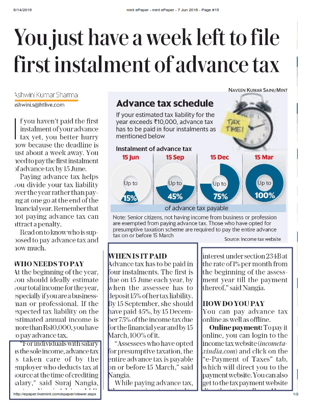 Deadline for filing first instalment of advance tax - Suraj Nangia