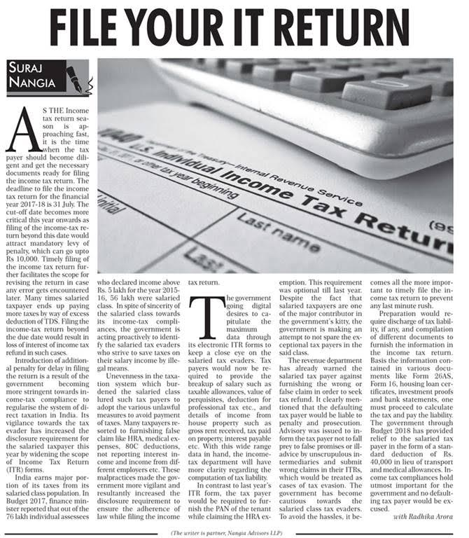 File your Income tax return by Suraj Nangia
