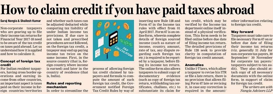 Claim Credit Tax If You have Paid Taxes Abroad - Suraj Nangia