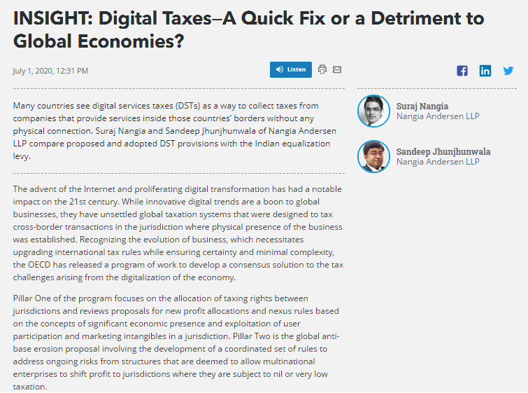 Suraj Nangia Advisors Digital Taxes