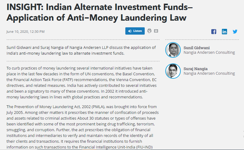 Suraj Nangia Money Laundering Law